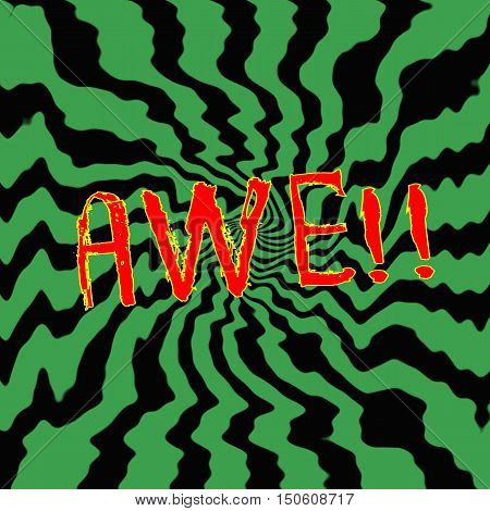 awe red wording on Striped sun black-green background