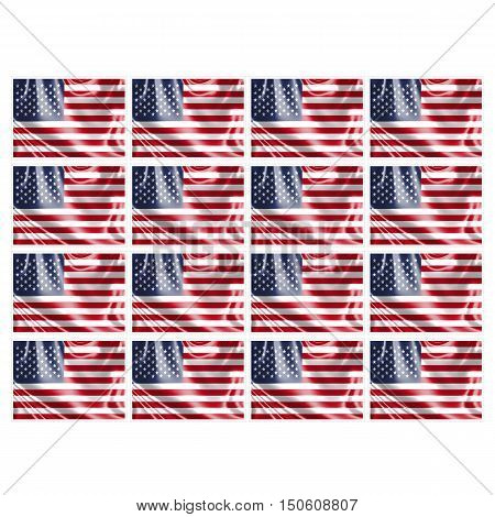 Stamp image of american flag sixteen piece