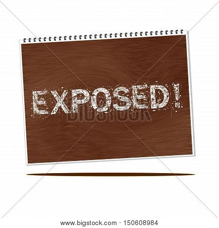 exposed white wording on Notebook wood background