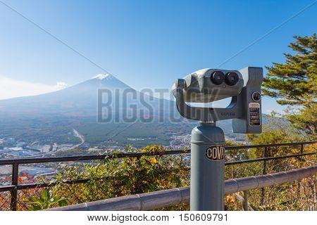 YAMANASHI JAPAN - NOVEMBER 04 2014: The coin-operated binoculars at view point of Mt.Kachi Kachi Ropeway.