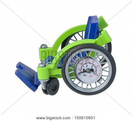 Wheelchair with a Air Pressure Gauge for speed used for transportation - path included