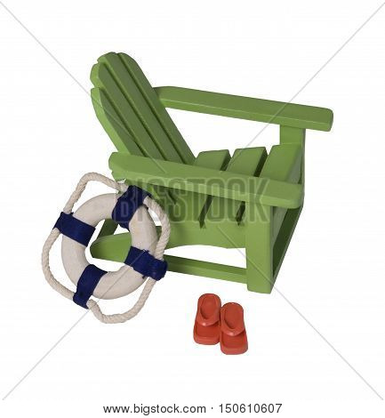 Beach chair with Life Preserver and Sandals for relaxing while on vacation - path included