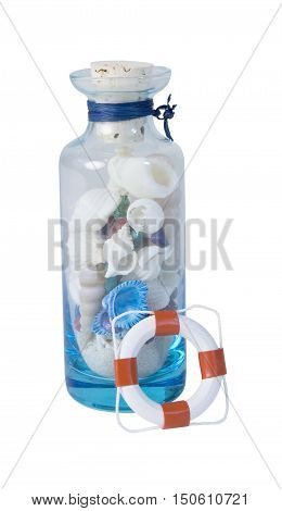 Seashells and sand in a jar with a life preserver - path included