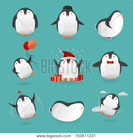 Collection of cute cartoon penguins characters. Set of funny birds. Vector winter illustration isolated on white background