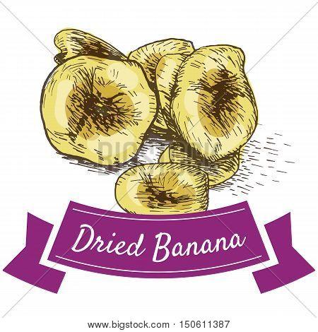 Dried banana colorful illustration. Vector illustration of dried banana.