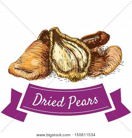 Dried pears colorful illustration. Vector illustration of dried pears.