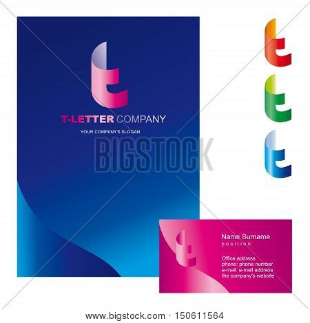 Template T brand name companies. Corporate identity for the company on the letter T: logo, business card, brochure cover or firm folders. Creative logo, body bent the letter T