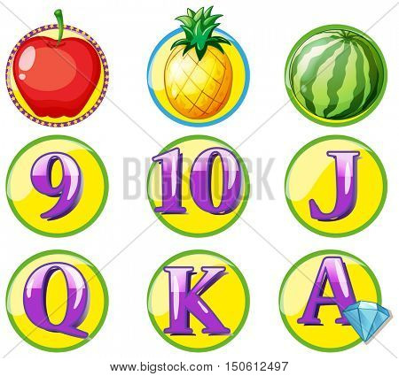 Game token with fruits and numbers illustration