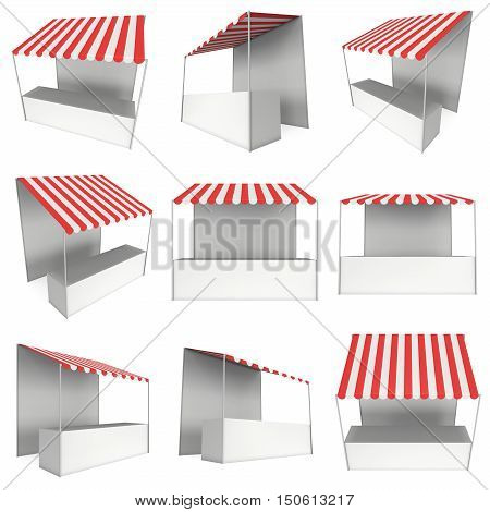 Market stand kiosk stall with striped awning for promotion sale. Shopping cart set. Business store collection showcase and kiosk marketplace mobile. 3D render illustration isolated on white.