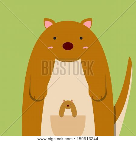 cute fat big kangaroo with baby on light green background