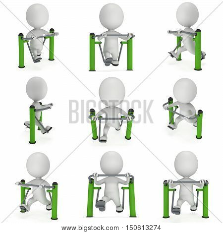 Active 3D man exercising on outdoor fitnes trainer machine set. Fit sporty man working out at outdoor gym collection. Sport fitness and healthy lifestyle concept. 3D render isolated on white.