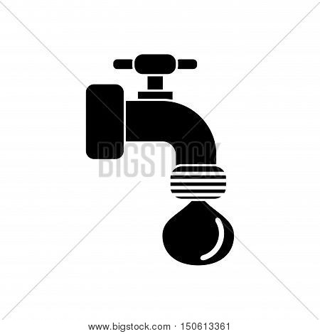 Tap object with drop icon. Ecology renewable and conservation theme. Isolated design. Vector illustration