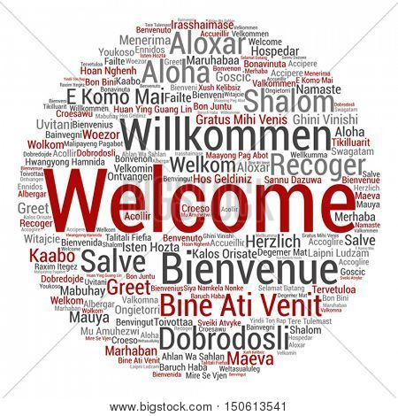 Vector concept abstract round welcome or greeting international word cloud in different languages or multilingual isolated metaphor to world, foreign, worldwide, travel, translate, vacation or tourism