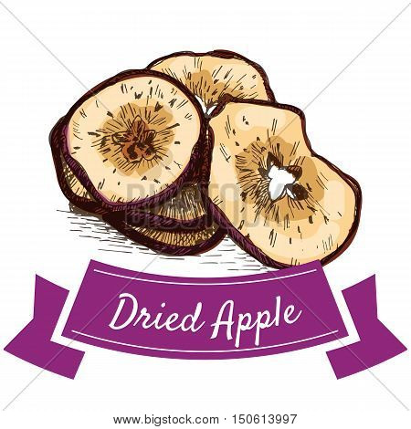 Dried apple colorful illustration. Vector illustration of dried apple.