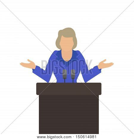Woman politician stands behind the podium throws up his hands. Vector flat