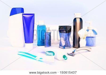 Toothpaste brush soap balm razor shaving brush towel shampooperfume. 3D illustration