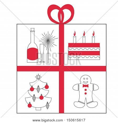 New year celebration concept with lots of new year and xmas symbols inside present box isolated on white background with red elements. Christmas and new year vector flyer template.