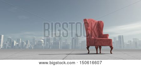 Old armchair outdoors on a city background. This is a 3d render illustration