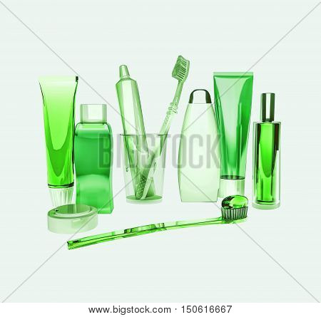 Means for care of teeth. Toothbrush, toothpaste, tooth thread, tooth balm, soap, shampoo. 3D illustration