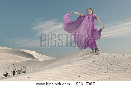 Elegant young woman in purple dress posing on sand. This is a 3d render illustration