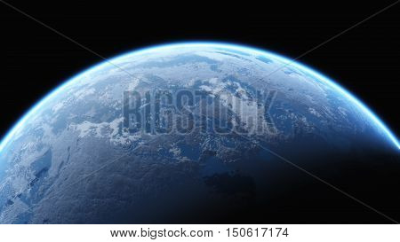 Earth view from outer space. This is 3d render illustration