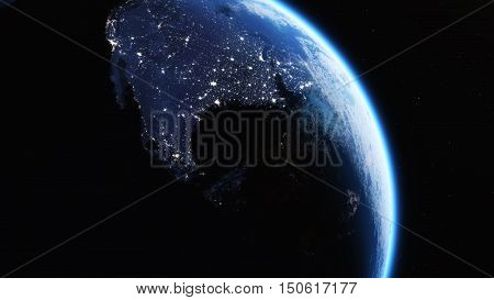 Earth view from outer space and the cities lights. This is a 3d render illustration