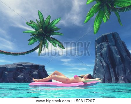 Beautiful woman relaxing on inflatable mattress in the seasurrounded by palm trees and tropical rocks. This is a 3d render illustration