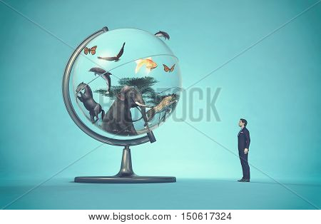Man concerned by a globe with animals on blue background. This is a 3d render illustration