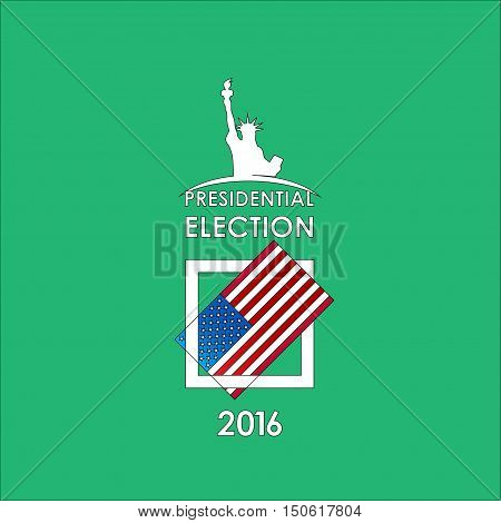 The presidential election voting card on a green background. Vector illustration