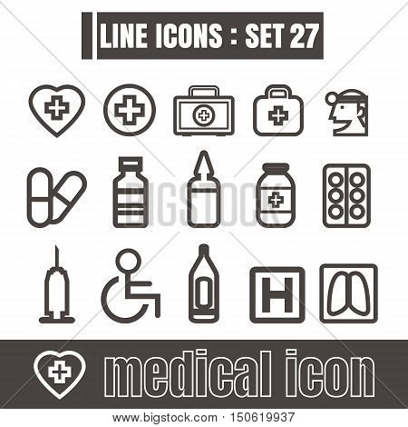 icons set Medical Works line black Modern Style design elements Geometry Straight lines curves vector on white background