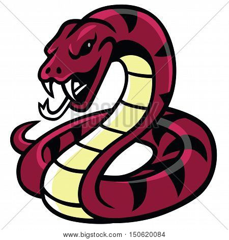 Snake Mascot Vector Illustration Showing It's Fang