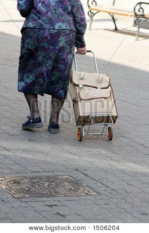 Old Woman With Shopping Bag