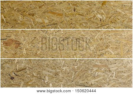 Pressed wooden panel background seamless texture of oriented strand board - OSB Set