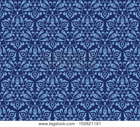 Vector seamless pattern with bright floral ornament. Vintage design element in Eastern style. Traditional arabic decor on blue background.