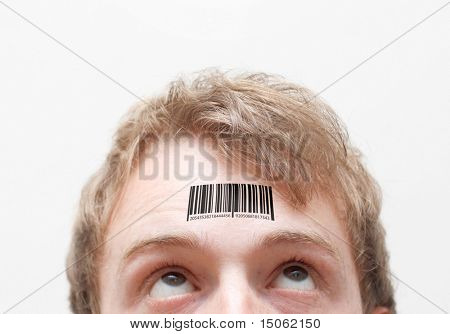 Barcode on forehead
