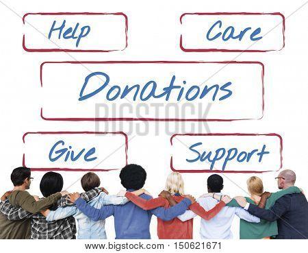 Community Donations Fundraising Volunteer Concept