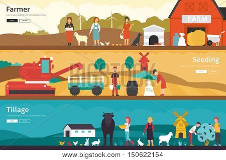 Farmer Seeding Tillage flat school interior outdoor concept web. Career Chart Fun