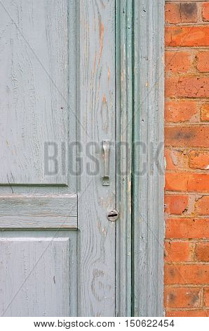 Old painted door in a brick wall