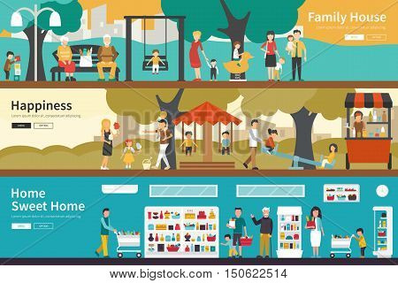 Family House Happiness Home Sweet Home flat interior outdoor concept web. Career Chart Fun