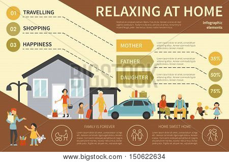 Relaxing At Home infographic flat vector illustration. Editable Presentation Concept