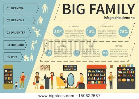 Big Family infographic flat vector illustration. Editable Presentation Concept
