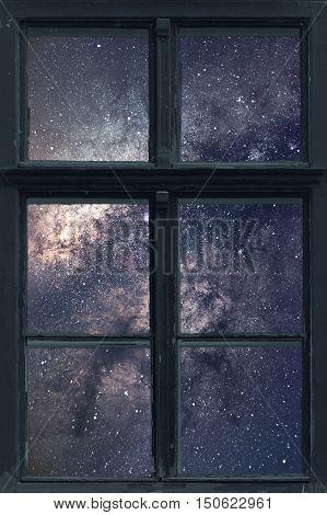 Starry Night Sky Window View. Milky Way Galaxy.