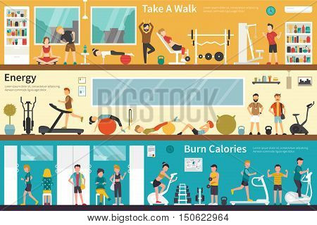 Take A Walk Energy Burn Calories flat fitness interior outdoor concept web. Career Chart Fun