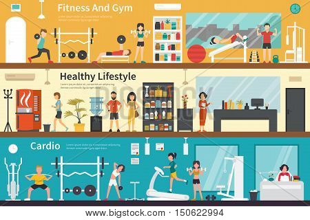 Fitness And Gym Healthy Lifestyle Cardio flat fitness interior outdoor concept web. Career Chart Fun
