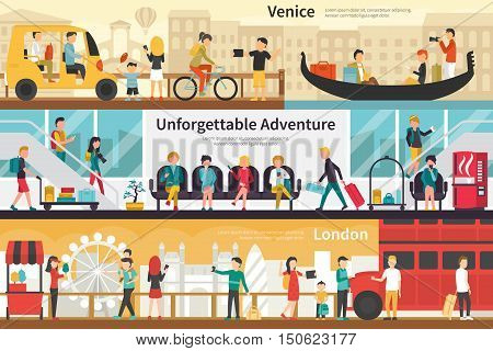 Venice Unforgettable Adventure London flat tourism interior outdoor concept web. Career Chart Fun