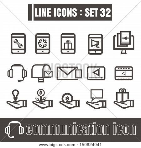 icons set communication line black Modern Style design elements Geometry Straight lines curves vector on white background