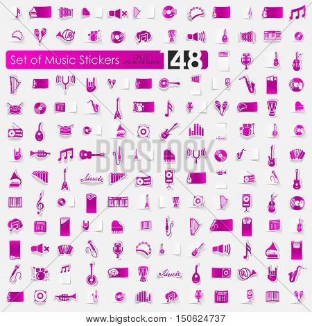 music vector sticker icons with shadow. Paper cut