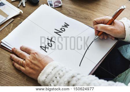 Act Now New Job Concept