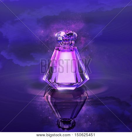 Perfume in a crystal bottle against the night sky and water. 3D illustration