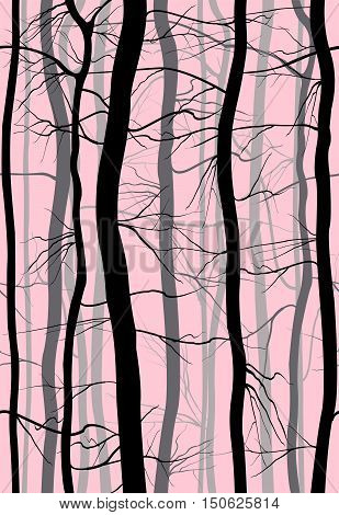 Forest Branches seamless pattern. Fog in spring, winter bare trees vector.
